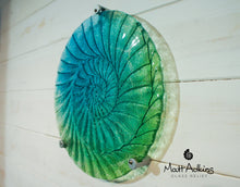 Load image into Gallery viewer, Ammonite Wall Panel - Round Turquoise Blue Green- 60cm with 3 fixings