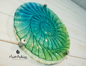 "Ammonite Wall Panel - Round Turquoise Blue Green- 29cm(10 1/2"") with 3 fixings"