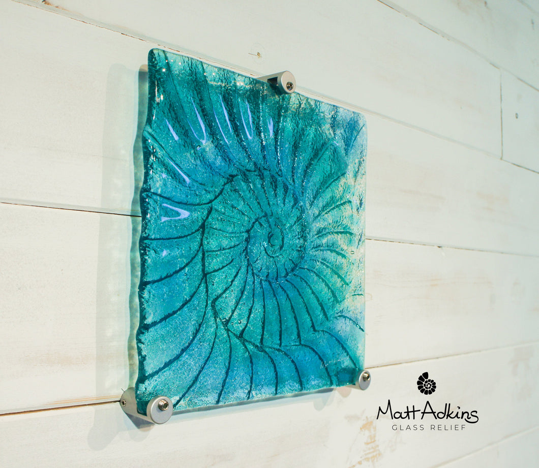 Ammonite Wall Panel - Small Square - Turquoise Blue - 22cm(9