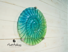 "Load image into Gallery viewer, Ammonite Wall Panel - Round Turquoise Blue Green- 29cm(10 1/2"") with 3 fixings"