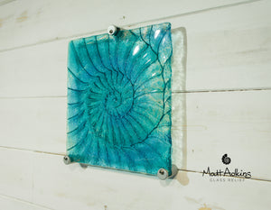 "Ammonite Wall Panel - Small Square - Turquoise Blue - 22cm(9"") with fixings"