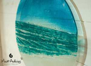 "Beach Wall Panel - Large Round - Turquoise - 40cm(16"") with fixings"