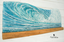 "Load image into Gallery viewer, Surfers' Wave Panel - Freestanding - 52x19cm(20x7 1/2"") with a wooden stand"
