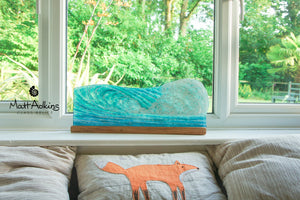 "Surfers' Wave Panel - Freestanding - 52x19cm(20x7 1/2"") with a wooden stand"