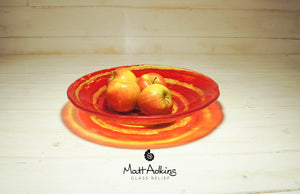 red yellow glass fruit bowl table decor
