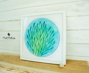"Coral Frame - Large Square -Blue Turquoise Green - 44x44cm(17 1/2"")"