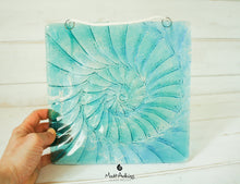 "Load image into Gallery viewer, Ammonite Suncatcher - Hanging - Blue Turquoise - 22x22cm(9""x9"")"