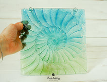 "Load image into Gallery viewer, Ammonite Suncatcher - Hanging - Turquoise Blue Green - 22x22cm(9"")"