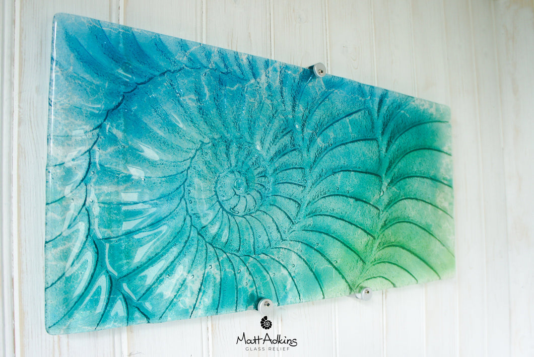 Ammonite Wall Panel - Large Landscape - Turquoise Blue Green - 56x26cm(22x10