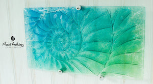"Ammonite Wall Panel -  Medium Landscape - Turquoise Blue Green - 42x22cm(16x9"") with fixings"