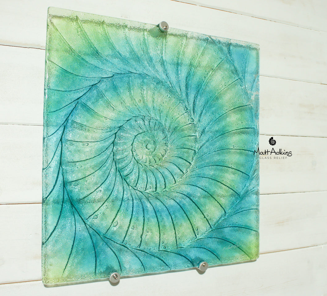Ammonite Wall Panel - Large Square - Swirl Turquoise Blue Green - 40cm(16