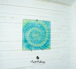 "Ammonite Wall Panel - Large Square - Swirl Turquoise Blue Green - 40cm(16"") with fixings"