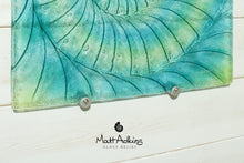 "Load image into Gallery viewer, Ammonite Wall Panel - Large Square - Swirl Turquoise Blue Green - 40cm(16"") with fixings"
