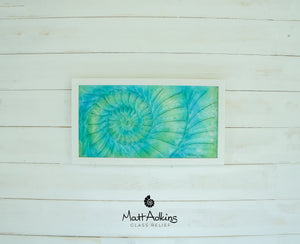 "Ammonite Frame - Medium Landscape - Swirl Green Turquoise Blue - 45x25cm (17x10"")"