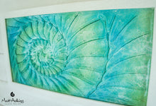 "Load image into Gallery viewer, Ammonite Frame - Medium Landscape - Swirl Green Turquoise Blue - 45x25cm (17x10"")"