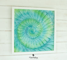 "Load image into Gallery viewer, Ammonite Frame - Large Square - Swirl Turquoise Blue Green - 44x44cm(17""x17"")"