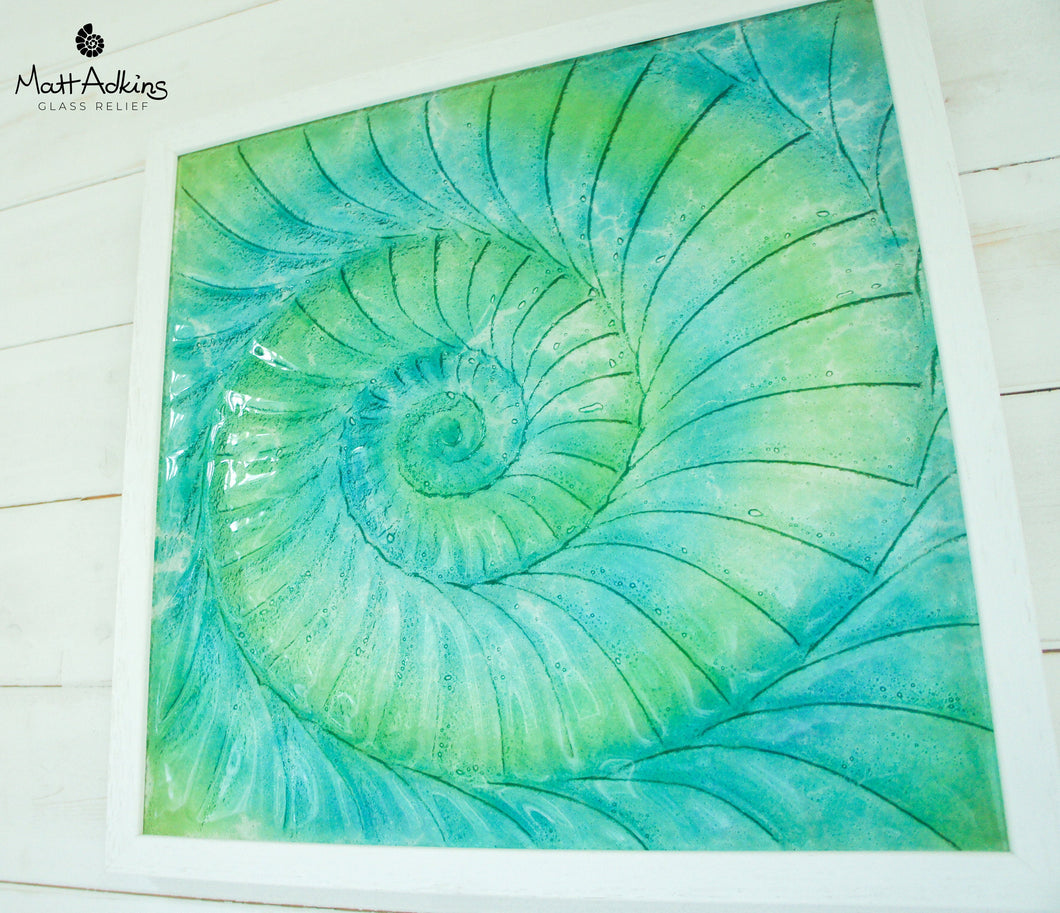 Ammonite Frame - Large Square - Swirl Turquoise Blue Green - 44x44cm(17