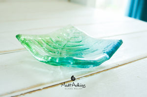 "Fern Dish - Turquoise Blue Green - 10cm(4"")"