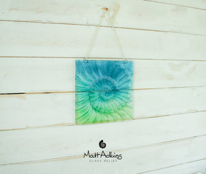 "Ammonite Suncatcher - Hanging - Turquoise Blue Green - 22x22cm(9"")"