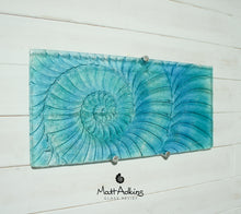 "Load image into Gallery viewer, Ammonite Wall Panel - Large Landscape - Swirl Turquoise Blue - 56x26cm(22x10"") with fixings"