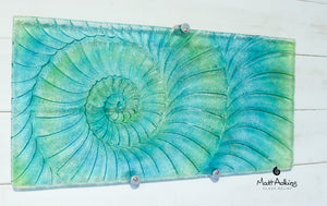 "Ammonite Wall Panel - Large Landscape - Swirl Turquoise Blue Green - 56x26cm(22x10"") with fixings"