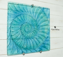"Load image into Gallery viewer, Ammonite Wall Panel - Large Square - Swirl Turquoise Blue - 40cm(16"") with fixings"
