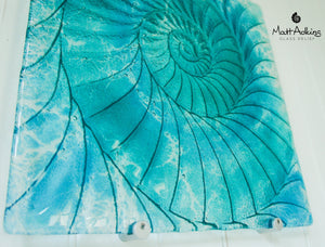 "Ammonite Wall Panel - Large Square - Swirl Turquoise Blue - 40cm(16"") with fixings"