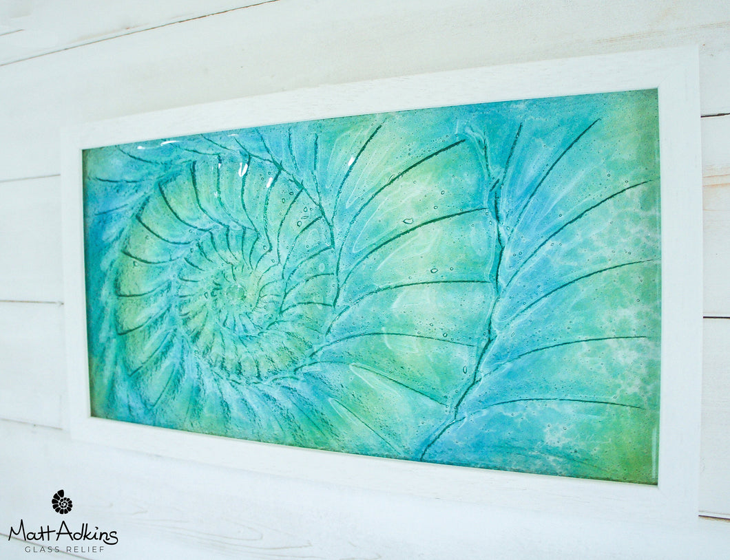Ammonite Frame - Medium Landscape - Swirl Green Turquoise Blue - 45x25cm (17x10