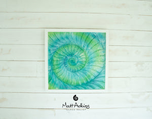 "Ammonite Frame - Large Square - Swirl Turquoise Blue Green - 44x44cm(17""x17"")"