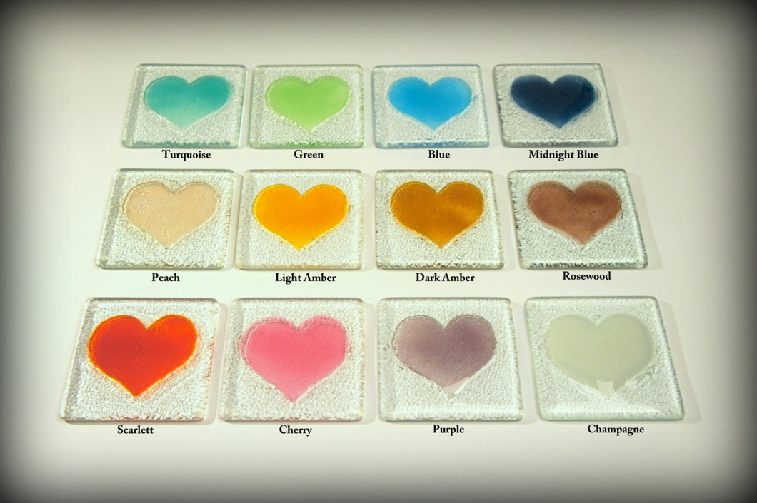 6 Heart Coasters - Choose your colours