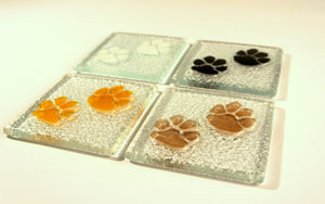 2 Paw Print Coasters - Choose your colours