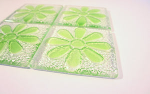 4 Daisy Green Coasters
