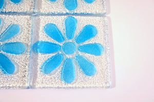 4 Daisy Blue Coasters