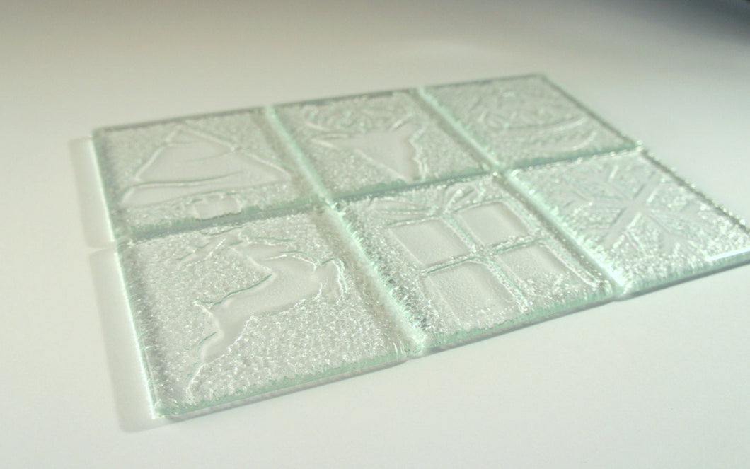 4 Clear Christmas Coasters