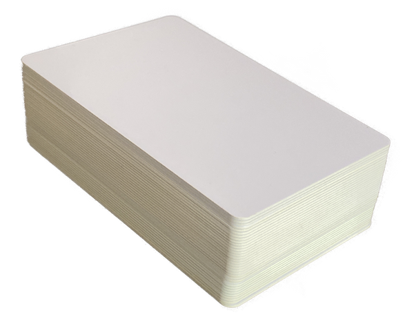 white pvc cards with recycled yellow core