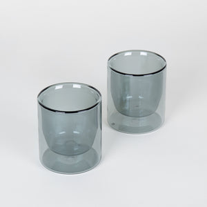 Double-Wall 6oz Glasses Set of 2 - Grey
