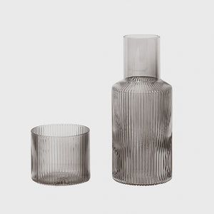 Ferm Living - Ripple Carafe Set - Smoked Grey