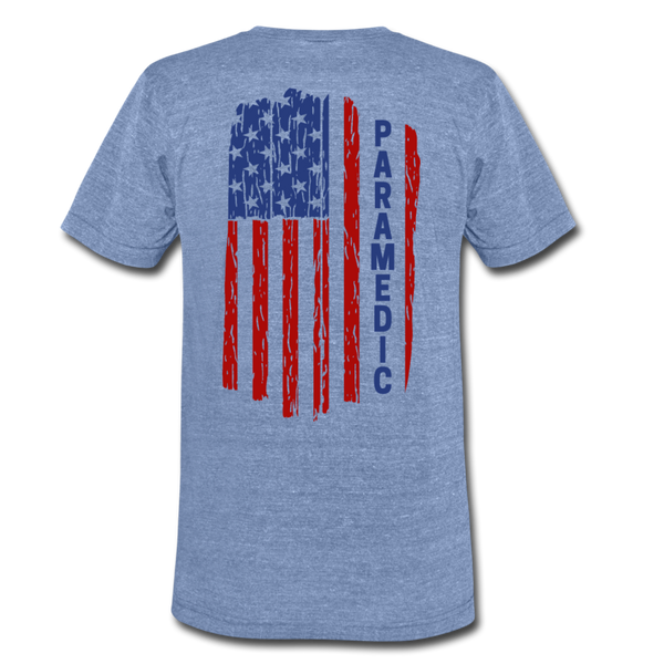 Paramedic American Flag - Men's Tri-Blend T-Shirt - heather Blue