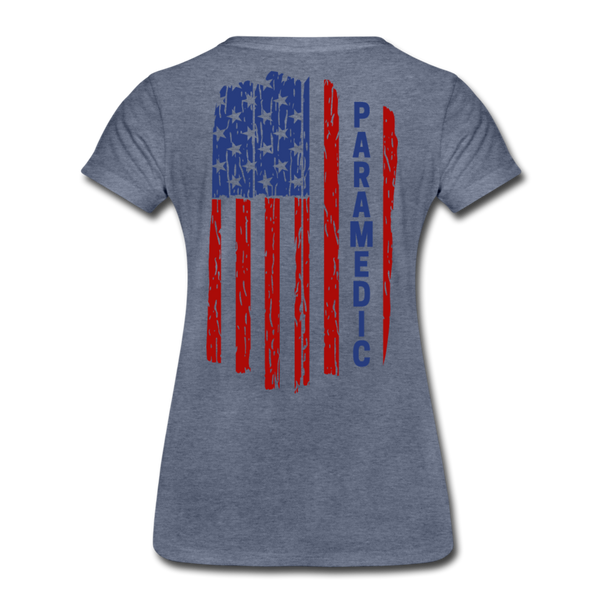 Paramedic American Flag - Women's Premium T-Shirt - heather blue