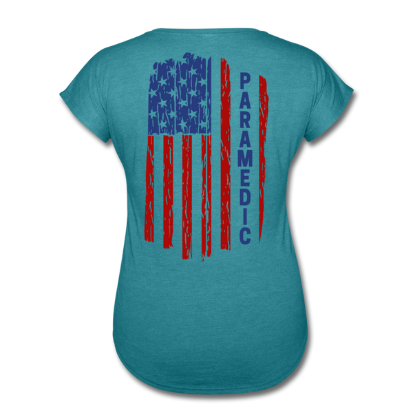 Paramedic American Flag - Women's Tri-Blend V-Neck T-Shirt - heather turquoise