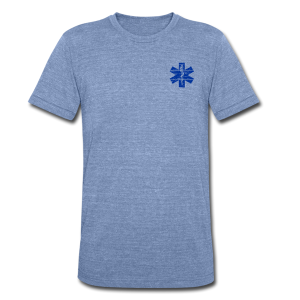 EMT American Flag - Tri-Blend T-Shirt - heather Blue