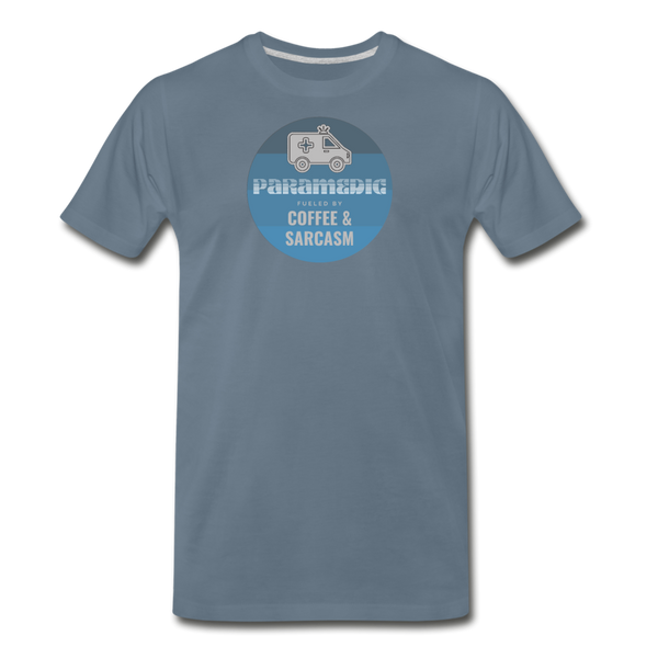 Paramedic, Coffee and Sarcasm - Men's Premium T-Shirt - steel blue