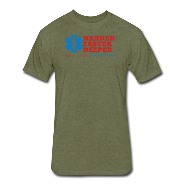 Harder Faster Deeper EMS - Cotton/Poly T-Shirtl - heather military green