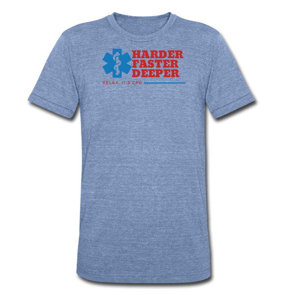 Harder Faste Deeper EMS - Tri-Blend T-Shirt - heather Blue