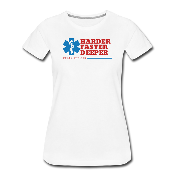 Harder Faster Deeper - Women's Premium T-Shirt - white