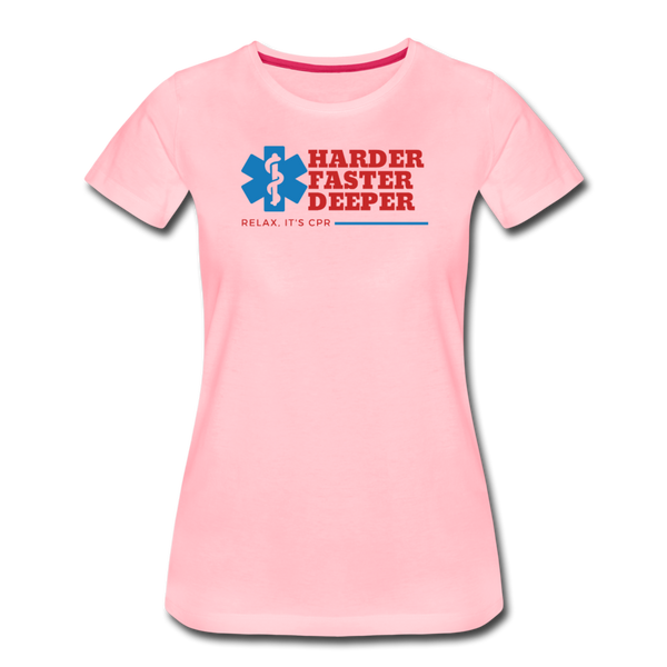 Harder Faster Deeper - Women's Premium T-Shirt - pink
