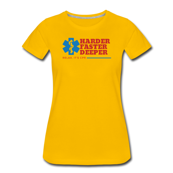 Harder Faster Deeper - Women's Premium T-Shirt - sun yellow