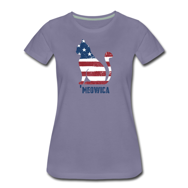 Meowica Cat - Women's Premium T-Shirt - washed violet