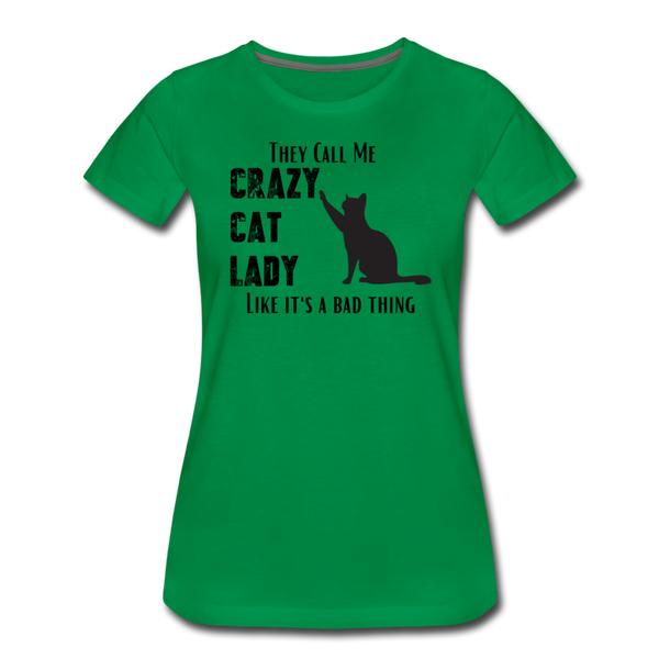 Crazy Cat Lady - Women's Premium T-Shirt - kelly green