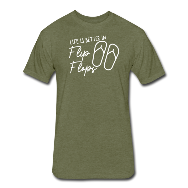 Life Is Better In Flip Flops - Men's Cotton/Poly T-Shirt - heather military green